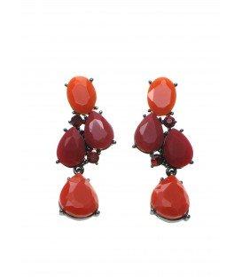 oorbellen met rode en oranje facet en strass stenen