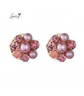roze oorknopjes met parels en strass stenen