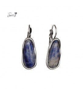 oorbellen met ovale blauwe natuursteen in zilverkleurige zetting