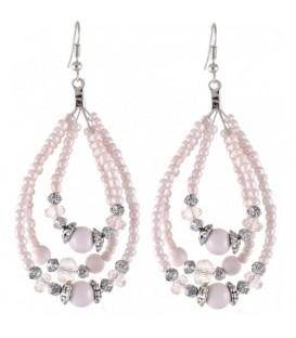 oorhangers met druppelvormige hanger met roze steentjes