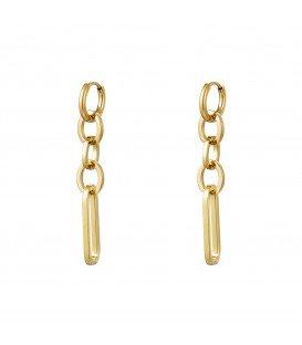 goudkleurige oorhangers van ringen als hanger
