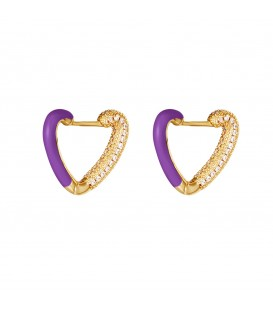 goudkleurige oorstekers in de vorm van een hart met paarse details