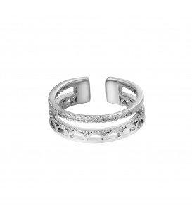 zilverkleurige ring met boogjes en een rij steentjes