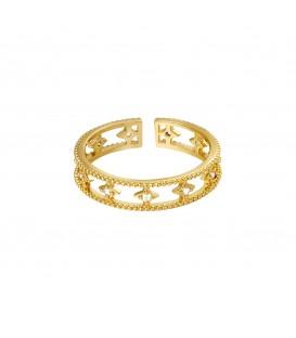 goudkleurige ring met fonkeltjes met steentjes