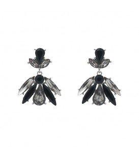 stijl volle oorbellen met zwart /grijze steentjes