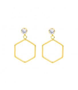 goudkleurige oorbellen met een 6 hoekige hanger en helder steentje