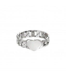 zilverkleurige ring van schakels met een hart (16)